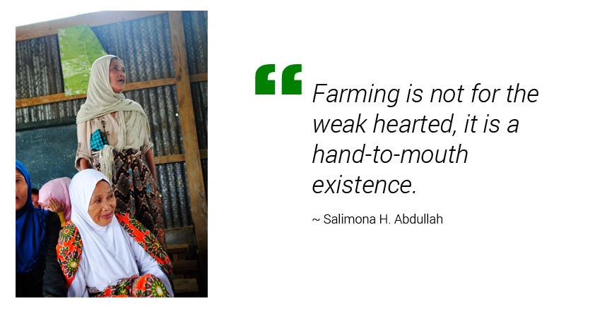"""""""Farming is not for the weak hearted, it is a hand-to-mouth existence,"""" Salimona H. Abdullah, a mother of six, shows her rough palms to describe her daily life."""