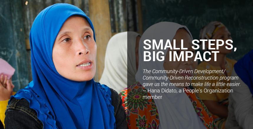 """""""The Community-Driven Development/Community-Driven Reconstruction program gave us the means to make life a little easier,"""" Hana Didato, a People's Organization member, explained."""